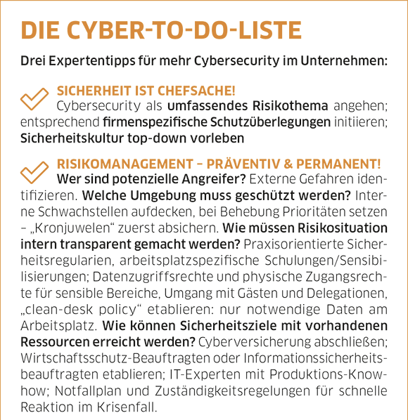 Infografik Cybersecurity Checkliste
