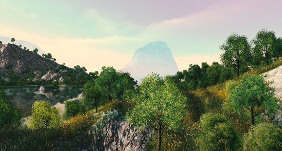 Bild einer 3D-Berglandschaft aus der Desaia-Engine