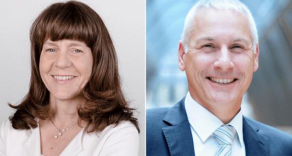 Dr. Flora Beiche-Scholz (l.) ist seit 2012 Geschäftsführerin von ALK-Abelló Arzneimittel. Oliver Kantner (r.)</strong> ist Interimsmanager mit mehr als 20 Jahren Berufserfahrung im Handel