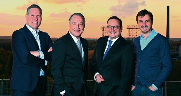 Andre Boschem (EWG), Oliver P. Kuhrt (Messe Essen), Oberbürgermeister Thomas Kufen und Richard Röhrhoff (EMG)