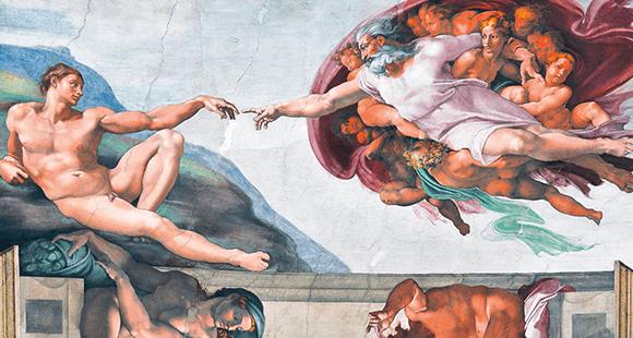 Die Schöpfung des Adam: In der biblischen Erzählung schuf Gott den Menschen nach seinem Abbild. Im 21. Jahrhundert tritt der Mensch an, ihm mit Künstlicher Intelligenz und Algorithmen nachzueifern.