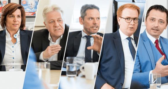 Die Diskussionsrunde: Sabrina van de Bürie, AXA; Rainer Ebenkamp, Gothaer; Frank Nobis, IVFP; Marc Simons, SIMONS & KOLLEGEN; und Robert Gladis, Hallesche